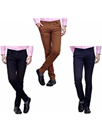 Nimegh Black, Navy Blue And Brown Color Cotton Casual Slim Fit Trouser For Men's (Pack Of 3)