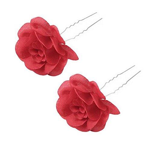 5PCS Mesdames Beaux Artificielle Flower Hair Pin clip cheveux ornements, Rouge