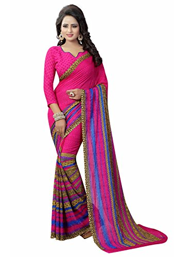 Ishin Faux Georgette Pink Printed Party Wear Wedding Wear Casual Wear Festive Wear Bollywood New Collection Latest Design Trendy Women's Saree/Sari  available at amazon for Rs.399