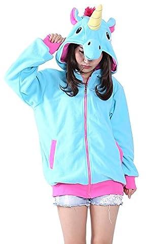 Minetom Cosplay Einhorn Tier Hoodie Jacke Pullover Party Kostüm Einhorn Blau L(166-175CM) (Cool 2 Person Kostüme)