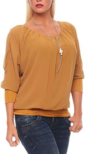 Malito Damen Bluse mit passender Kette | Tunika mit ¾ Armen | Blusenshirt mit breitem Bund | Elegant - Shirt 1133 (Camel) - Kette-kragen-shirt