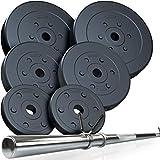 ScSPORTS® 39 kg Hantelset mit Langhantel und 6 Hantelscheiben aus Kunststoff - Langhantel-Set mit Schnellverschluss, bodenschonend & geräuscharm