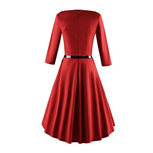 iLover Damen 3/4 Ärmel Retro Vintage Rockabilly 40s 50s 60s Kleid Partykleider Cocktailkleider Rot