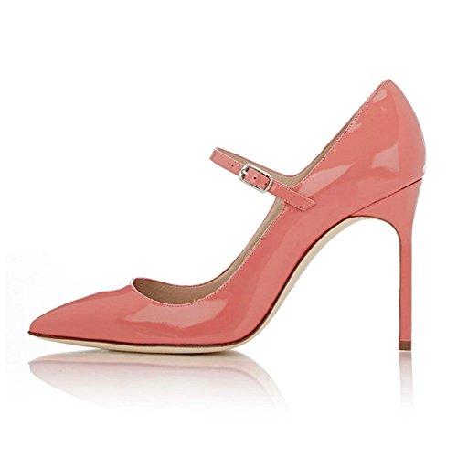 EDEFS - Escarpins Femme - Mary Janes Chaussure - Lanières femme - Talons hauts aiguilles - Bout pointure fermé pink