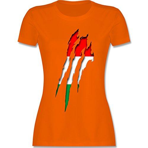 EM 2016 - Frankreich - Ungarn Krallenspuren - tailliertes Premium T-Shirt mit Rundhalsausschnitt für Damen Orange