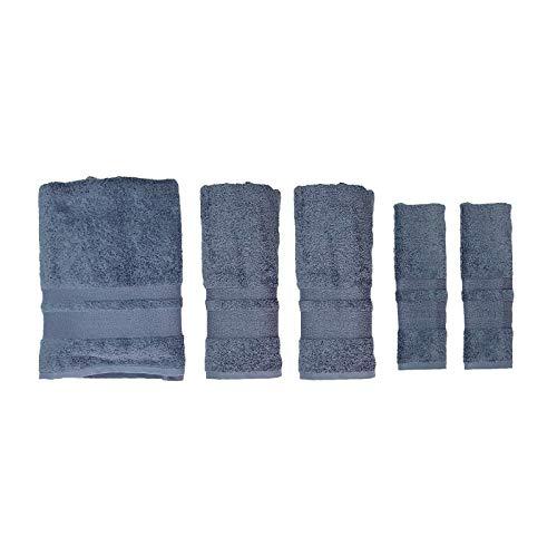 c949766b2a Borbonese Completo Full 5 Pezzi Spugna, Due Asciugamani Viso più Due  Asciugamani Ospiti più Un Telo Bagno, Jeans