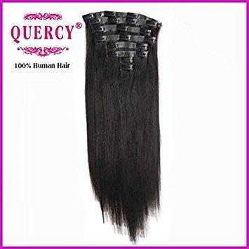 Quercy® Cheveux Extensions capillaires en cheveux synthétique 18inch 120 g/Lot cheveux brésiliens vierges Remy 100% humains(#black)