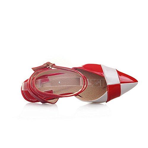 VogueZone009 Donna Fibbia Punta Chiusa Tacco A Spillo Pelle Di Maiale Colore Assortito Sandali Rosso