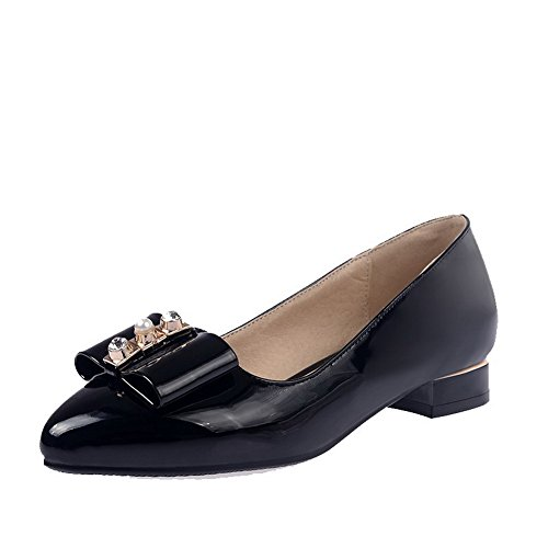 AllhqFashion Femme Pointu Tire Matière Mélangee Couleur Unie à Talon Bas Chaussures Légeres Noir