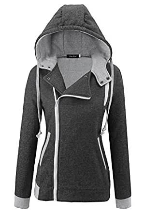 Kormei Women Oblique Zipper Hoody Winter Warm Hoodie