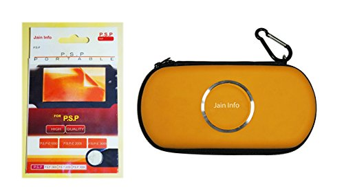"Jain Info Branded Zip Pouch/Case/Cover (Yellow Color) For PSP With a Free Screen Guard - - Compatible with PSP Consoles (1000/2000/3000 & Latest E1000/E1004 series). Generic (""Wholesale Bulk Deal"")"