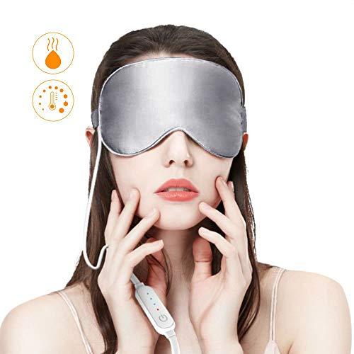 Dragoskandia Augenmaske Wärmend Schlafmaske Seide Damen Frauen Herren EM200 Graphene USB Beheizte Schlafmaske mit Ohrstöpsel, 3 Temperaturstufen -