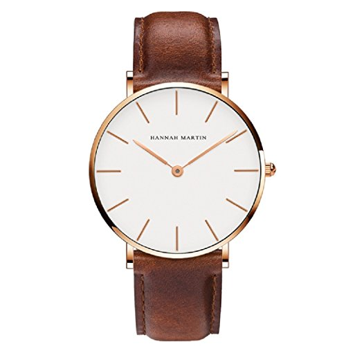 Hombre Relojes, L'ananas Estilo Minimalista Impermeable Anolog Negocio Cuarzo Cuero de PU Parejas Amantes Relojes de Pulsera con Caja de Regalo Wristwatches (Marrón+Oro)