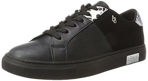 Armani Jeans Damen Sneaker Bassa, Schwarz (Nero), 41 EU
