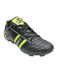 Port Mens Livia345 Black Pu Football Shoes