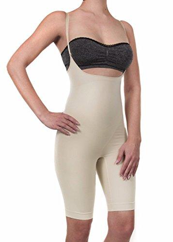Shapewear Mieder Body Figurformend Seamless SlimBauchweg Unterwäsche Damen Frauen (L, beige)