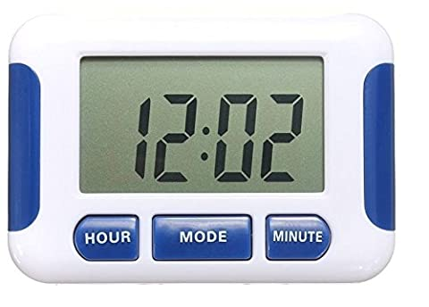 Digital Clock with 5 x Separate Multiple Alarms Stop Watch Timer Pill Box Reminder Pocket