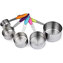 Cymax Set of 5 Stainless Steel Kitchen Cooking Baking Measuring Cups Measuring Spoon with Engraving Metric Measurement, Silicone Handle and Keychain