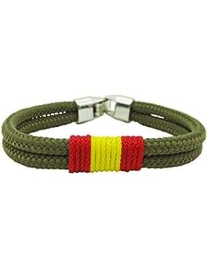 Pulsera España cordón verde militar / 3 medidas / bandera de España trenzada en frontal / grosor 4mm