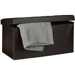 Relaxdays - Banco plegable con espacio de almacenamiento hecho de cuero sintético con medidas 38 x 78 x 38 cm capacidad de 85 L asiento baúl, color marrón