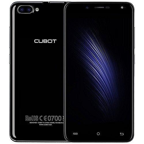Cubot Rainbow 2 (2017) Schlank Smartphone Ohne Vertrag Android 7.0,5 Zoll HD IPS Touch Display,Dual Rückfahrkamera (13MP+2MP),5.0MP Frontkamera, Dual Sim, 1GB RAM+16GB ROM Akku 2350mA. Schwarz