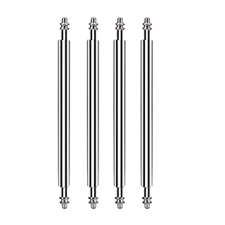Alohha 20mm X 1.8mm Stainless Steel Spring Bar Watch Strap Pins for Attaching Watch Band to Watches or Buckle (Set of Four)