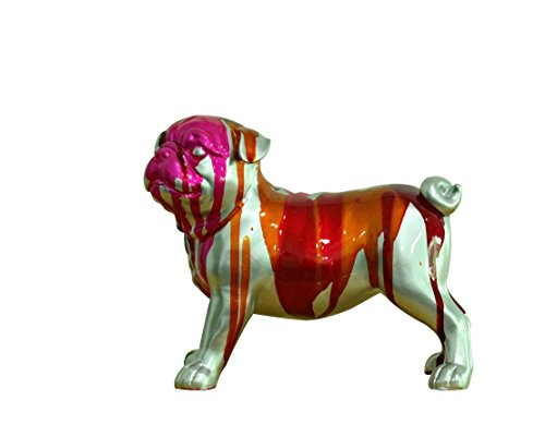 Petit Chien Bulldog Figurine décorative - Gris Bleu Vert Rose - Objet Design Moderne