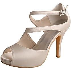 Wedopus , Damen Peep Toes , weiß - elfenbeinfarben - Größe: 37.5