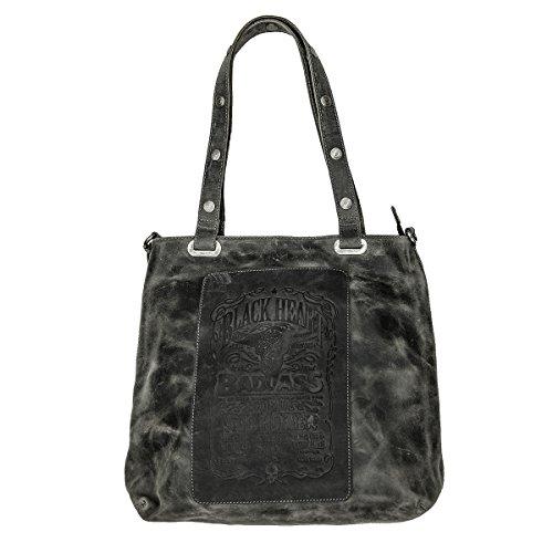 Jack's Inn 54 Tasche - Americano Shopper schwarz Vintage Leder Damenhandtasche