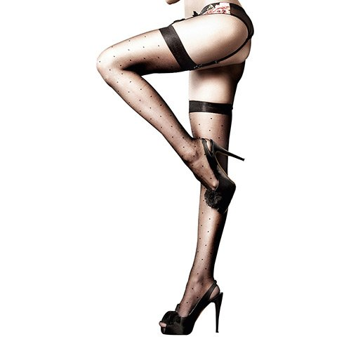 Baci Women's After Dark Sheer Dot Thigh High, Black, One Size