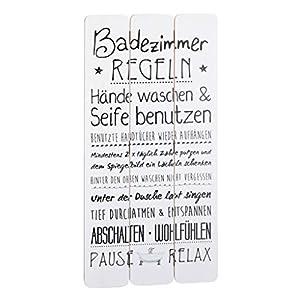 """Wandschild Plankenschild """"Badezimmerregeln"""" ca. 60 x 30 cm – Vintage Motiv-Schild – Ideal für Badezimmer oder Flur – Super Geschenkidee für Ihre Liebsten"""