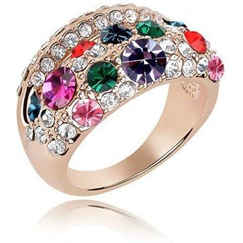 Amazing Viola e cristallo colorato anello oro tono grandi dimensioni Q 18mm FR76