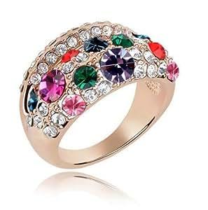 Amazing viola e cristalli colorati anello dorato grande misura 18mm FR76