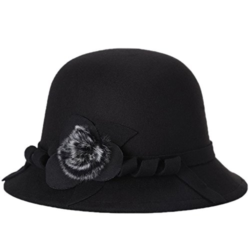 WDOIT Otoño e Invierno Versión Británica De Las Mujeres Arco Arco Dulce Plumas Sombrero Caliente Bolas Sombrero Negro
