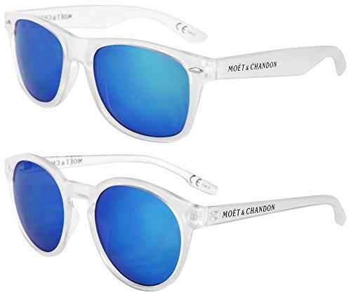 Moët & Chandon Ice Impérial Sonnenbrillen 2er Set Summer Day mit blauer Glas-Verspiegelung (Design: 1 x Damen, 1 x Herren) Limited Edition