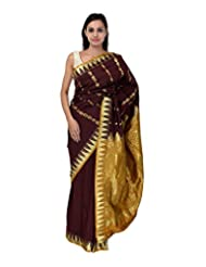 A1 Fashion Women Silk Brown Saree With Blouse Piece