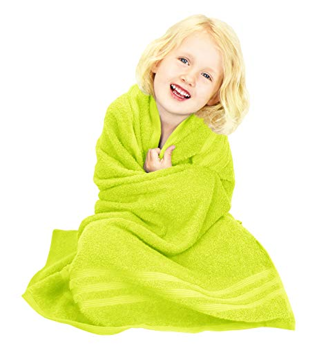 Lashuma Hochwertiges Badetuch Kiwi Grün, Quadratisches Handtuch Größe 100x100 cm, Mädchen Jungen Babyhandtuch 450 g/qm