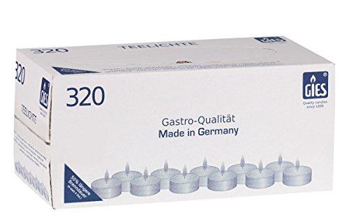 Gies 205-439000-10 Teelichte, Durchmesser 38 mm, in Metallhülsen, 6 Stunden Brenndauer, 320-er Karton, weiß