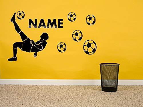 ieler Silhouette Wandaufkleber Personalisieren Benutzerdefinierte Name & Nummer fußball Junge Schlafzimmer Wohnkultur Poster 60 * 30 cm ()