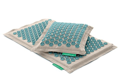 Set - 2 unidades: Pranamat ECO + PranaPillow, La esterilla y la almohada de masaje terapéutico (Natural/Turquesa)