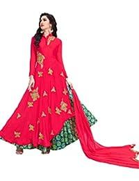 Lilots Georgette Red Emboidery Patch Work Semi Stitch Salwar Kameez