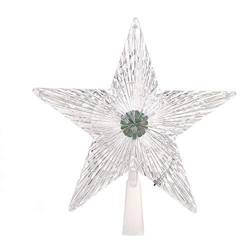 LED-Leuchten, Kaiki Weihnachtsbaum Spitze fünfzackigen Sterne Glitter dekorative Lichter Weihnachten Wohnaccessoires (klar,L) - Glitter Spitzen