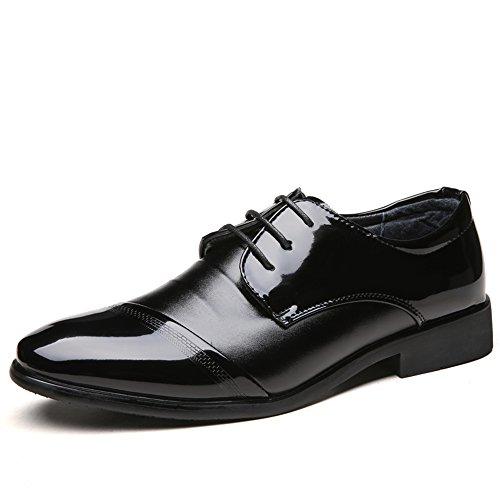 Hilotu Herren Abendschuhe Smoking Schuhe Lackleder Hochzeitsschuhe Cap Toe Lace up Formelle Business-Oxford-Schuhe (Color : Schwarz, Größe : 43 EU) Lace Up Smoking