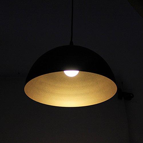 BAYTTER® Design 2x klassische retro LED Hängelampe Pendelleuchte, halbkugelförmig Φ 30cm, für E27 Leuchtmittel, für Esstisch Esszimmer Wohnzimmer Keller Untergeschoss usw. (schwarz) - 6