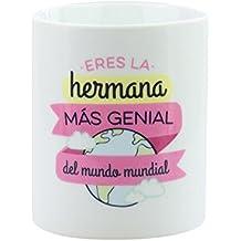"""Mr. Wonderful - Taza """"Eres la hermana más genial del mundo mundial"""", 300 ml, color blanco y rosa"""