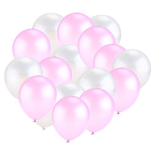 NUOLUX Globos Colores Látex Globos para la Fiesta de Cumpleaños de la Boda 50pcs (Rosa Blanco)