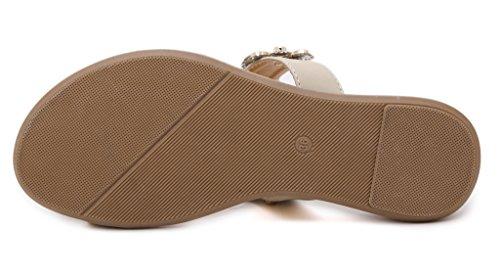 Fortuning's JDS anello di punta di abbagliamento di modo fiore strass pistone piano sandalo della spiaggia Beige