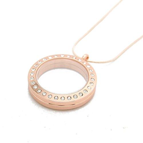 JoJo & Lin Rose Gold Glas Kreis magnetisch Floating Charme Medaillon mit Schlangenkette - Gold Eule Kette Origami