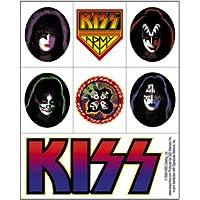 "KISS BACIO Mini Assorted assortito Mini STICKER ADESIVO Set, Officially Licensed Products Classic Rock Artwork, 4.8"" x 4.3"" - Long Lasting Sticker DECAL"