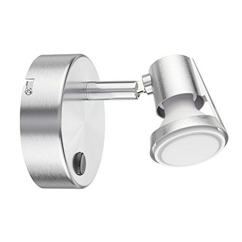 ledscom.de Applique Leonis, à Une Ampoule avec Interrupteur avec 340lm LED GU10 Ampoule, Blanche